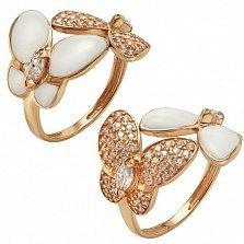 Кольцо в красном золоте Великолепные бабочки с эмалью и фианитами