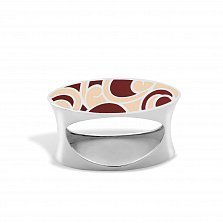 Серебряное кольцо Native с желтой и красной эмалью