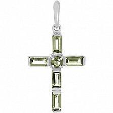 Золотой крестик в белом цвете с аместистами Эстетика ар-деко