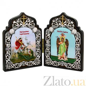 Складень на дереве Георгий Победоносец и Ангел Хранитель 2.77.0114