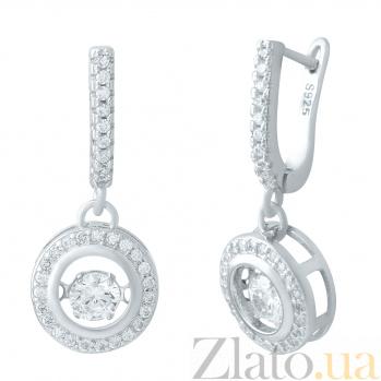 Серебряные серьги-подвески Таисия с фианитами 000078061