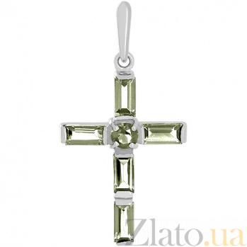 Золотой крестик в белом цвете с аместистами Эстетика ар-деко 000029445