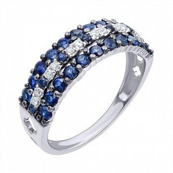 Золотое кольцо в комбинированном цвете с сапфирами и бриллиантами 000139461