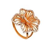 Кольцо из красного золота Настурция с белыми фианитами