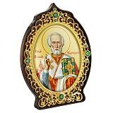 Икона латунная с позолотой с образом Святителя Николая Чудотворца