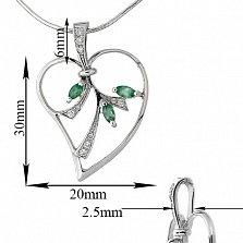 Серебряный кулон Изящный лист с зелеными агатами и фианитами