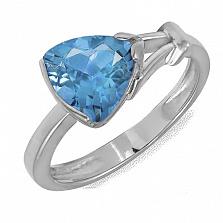 Кольцо в белом золоте Деметра с голубым топазом