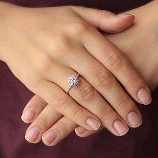Серебряное кольцо Нежность и сила в позолоте с фианитами