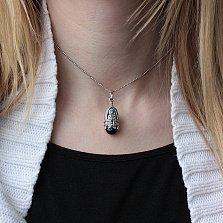 Серебряная ладанка-мощевик Богородица с золотой накладкой, чернением и ониксом