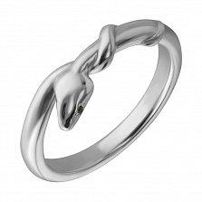 Серебряное кольцо Маленькая змея с нанокристаллами
