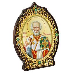 Икона Николай Чудотворец с латунью, зелеными фианитами, цветной эмалью и позолотой 000004192