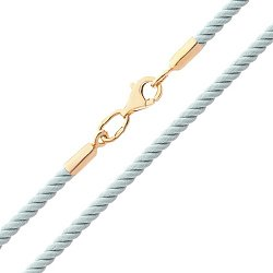 Шелковый голубой шнурок Мир с серебряной позолоченой застежкой,2мм