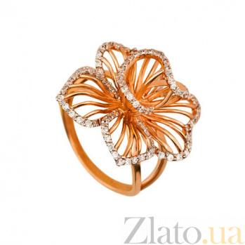 Кольцо из красного золота Настурция с белыми фианитами VLT--ТТ1121-2