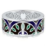 Мужское обручальное кольцо из белого золота с эмалью Талисман: Мира