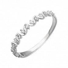 Кольцо из белого золота Лента с бриллиантами
