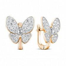 Позолоченые серебряные серьги Бабочки с белыми фианитами в стиле Ван Клиф