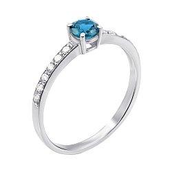 Кольцо из белого золота с голубым топазом и фианитами 000138644