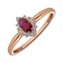 Кольцо из красного золота с рубином и бриллиантами 000145430