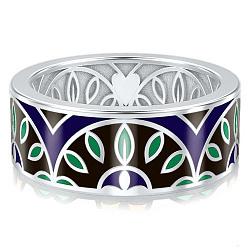 Мужское обручальное кольцо из белого золота с эмалью Талисман: Мира 000009963