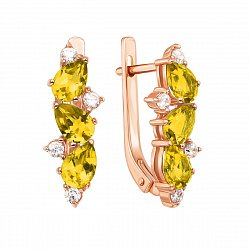 Серьги из красного золота с цитринами и фианитами 000134254