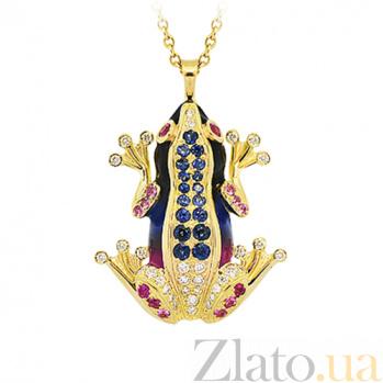 Золотое колье с бриллиантами, сапфирами и эмалью Лягушки: Чудо бытия 000029596