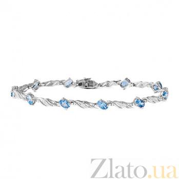 Золотой браслет Блюз в белом цвете с голубыми топазами и бриллиантами на 10 звеньев ZMX--BCT-6098-10w_K