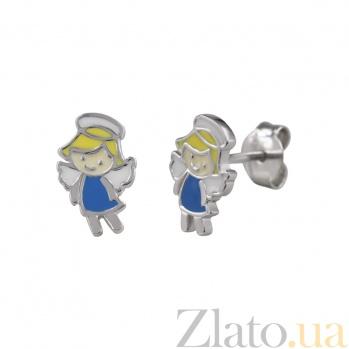 Серебряные серьги-пуссеты с цветной эмалью Ангел 000029365
