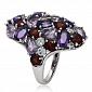 Серебряное кольцо с аметистами, гранатами и топазами Манхеттэн 3К079-0102