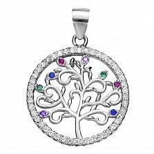 Серебряная подвеска Древо жизни с цветными листьями-фианитами