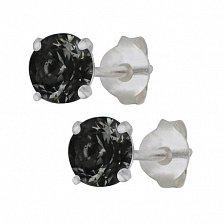 Серебряные сережки-пуссеты с черным цирконием Эсселта