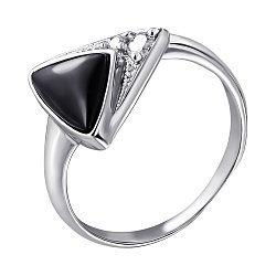 Серебряное кольцо с ониксом и фианитами 000028344