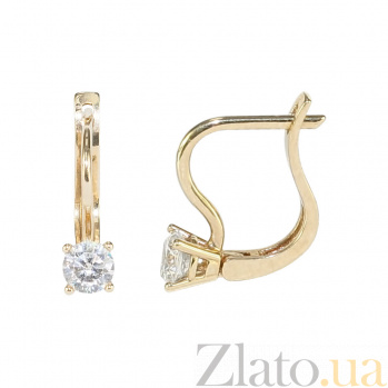 Золотые серьги с фианитами Пейтон 2С304-0155