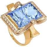 Золотое кольцо с топазом и фианитами Сан-Франциско