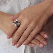 Серебряное сборное кольцо 7 дорожек с кристаллами циркония
