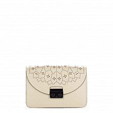 Кожаный клатч Genuine Leather 1728 бежево-молочного цвета с перфорированным узором на клапане