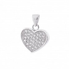 Серебряный кулон-сердце Романтическое свидание в усыпке циркония