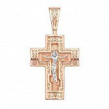 Крестик в красном и белом золоте Святая защита