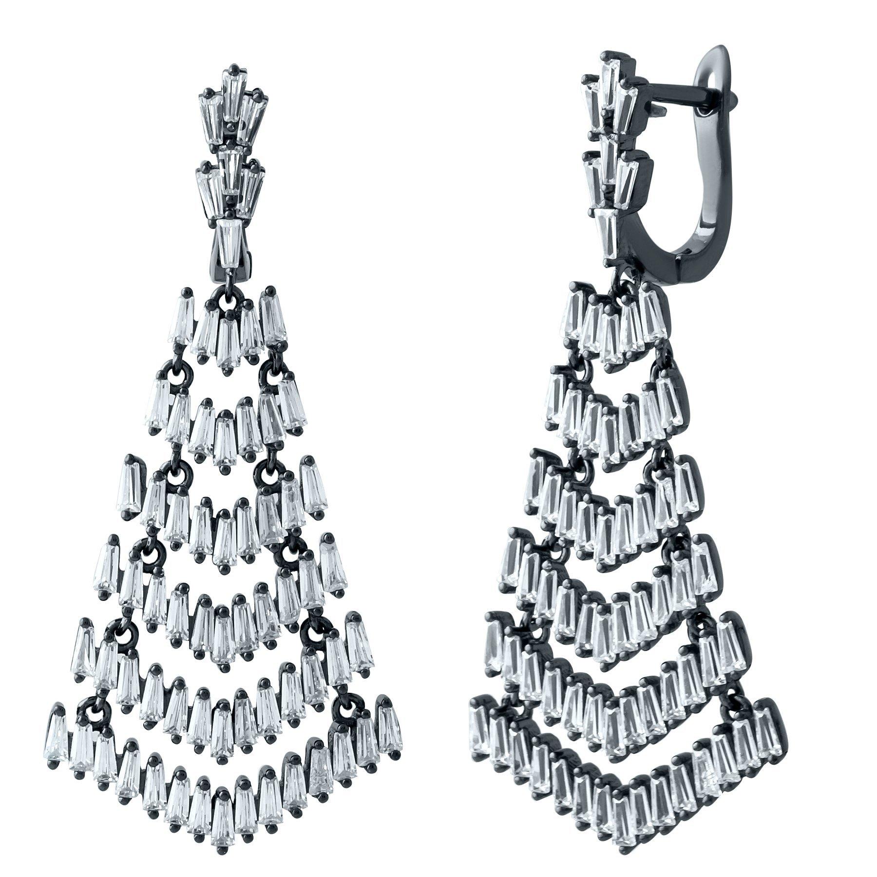 Серебряные серьги-подвески Царевна с фианитами и черным родием
