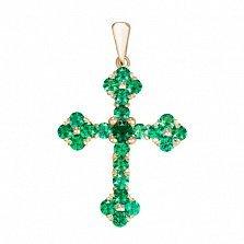 Золотой крестик Мирелла с синтезированным изумрудом