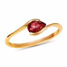 Золотое кольцо Тонкие грани в красном цвете с синтезированным рубином