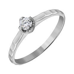 Кольцо из белого золота с бриллиантом, 0,25ct 000034648