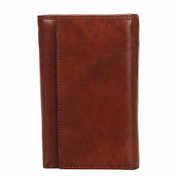 Кожаный кошелек Genuine Leather mg0098 красно-коричневого цвета на кнопке