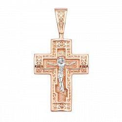 Крестик в красном и белом золоте Святая защита 000117575