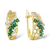 Золотые серьги Элизабетта с гранатами и бриллиантами