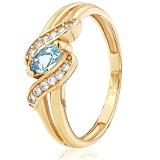 Золотое кольцо Офелия с голубым топазом и фианитами