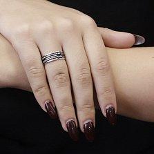 Серебряное фактурное кольцо Жгут с черной эмалью