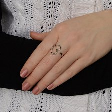 Серебряное разомкнутое кольцо Воздушное сердце в стиле Тиффани