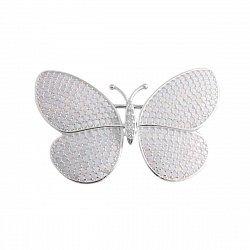 Серебряная брошка с фианитами под белые опалы 000095561