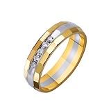 Золотое обручальное кольцо Театр с насечкой и фианитами в комбинированном цвете