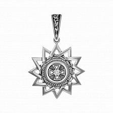 Серебряный кулон Звезда Эрцгаммы с узорным бунтиком и фианитом
